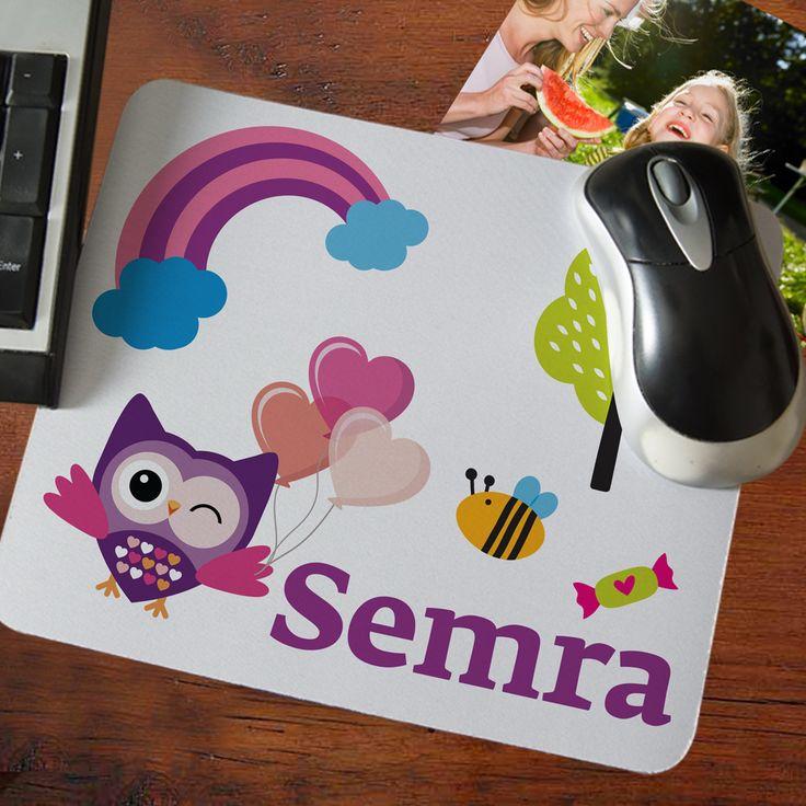 Baykuş Temalı İsim Yazılı Mouse Pad