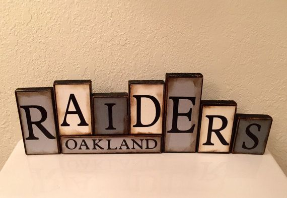 Raiders Sign Word Blocks Oakland Wooden by GuidingPrintables