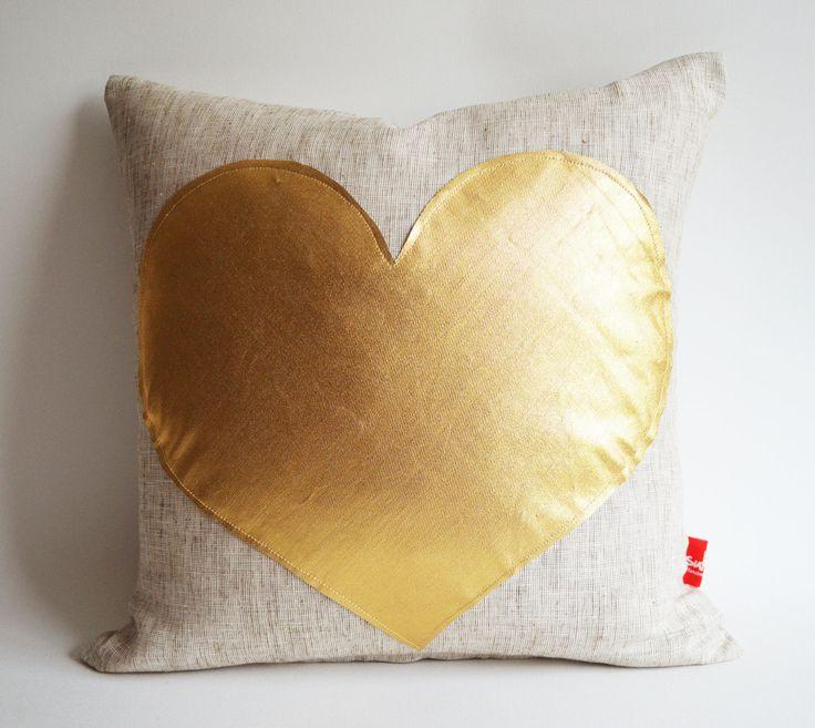 Decorative Valentine Pillows : Sukan / Gold Heart Pillow Cover - Raw Linen Pillow - Decorative Pillow - Accent Pillow ...