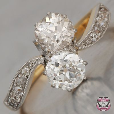 Art Nouveau Old Mine Diamonds...  ~~My British cut vintage ring is exactly like this but no small stones around the band.