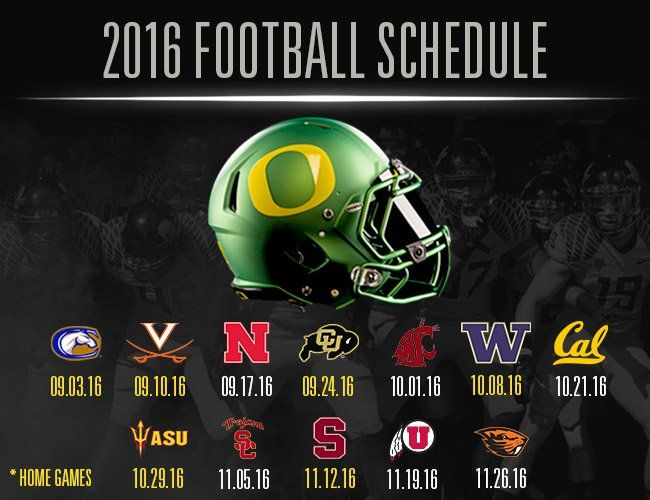 Oregon Ducks 2016 Football Schedule
