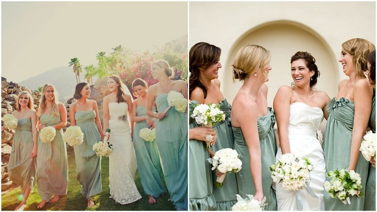 bridesmaids in blues & greens for a beach weddingMismatched Bridesmaid Dresses, Mismatched Blue Green Meadow, Mint Green, Bridesmaid Ideas, Beach Weddings, Green Dress, Bridesmaid Dresses Colors, Blue Bridesmaid Dresses, Blue Bridesmaids