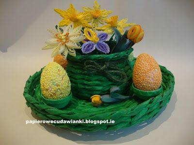 To co robię i co lubię: Wielkanocny stroik z papierowej wikliny z quilling...