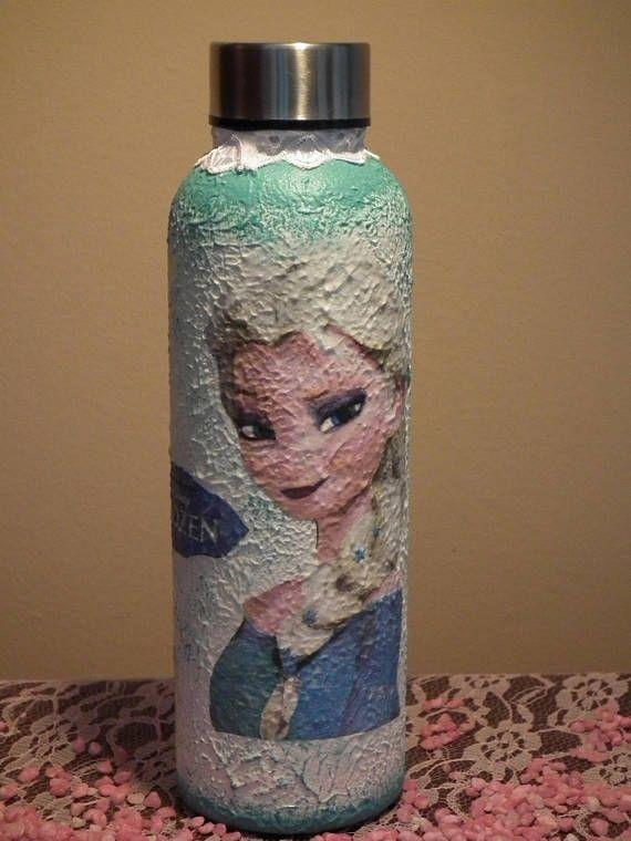 Frozen decor decoupage plastic flask for child fans