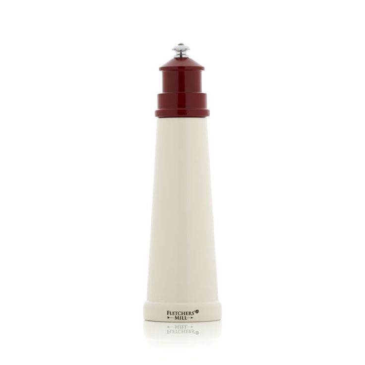 """Sleek, high-performance pepper mill is inspired by the coastal lighthouses of Portland, Maine, and is handcrafted by Fletcher's Mill.  Featuring its signature """"lock-and-grind"""" system, mill crushes peppercorns first before grinding for maximum flavor and to your preferred consistency.  Red and white finish adds nautical charm to the kitchen or table."""