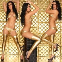 Gold wet-look sexy costume women sexy nightwear sexy dress sexy lingerie Best Buy follow this link http://shopingayo.space