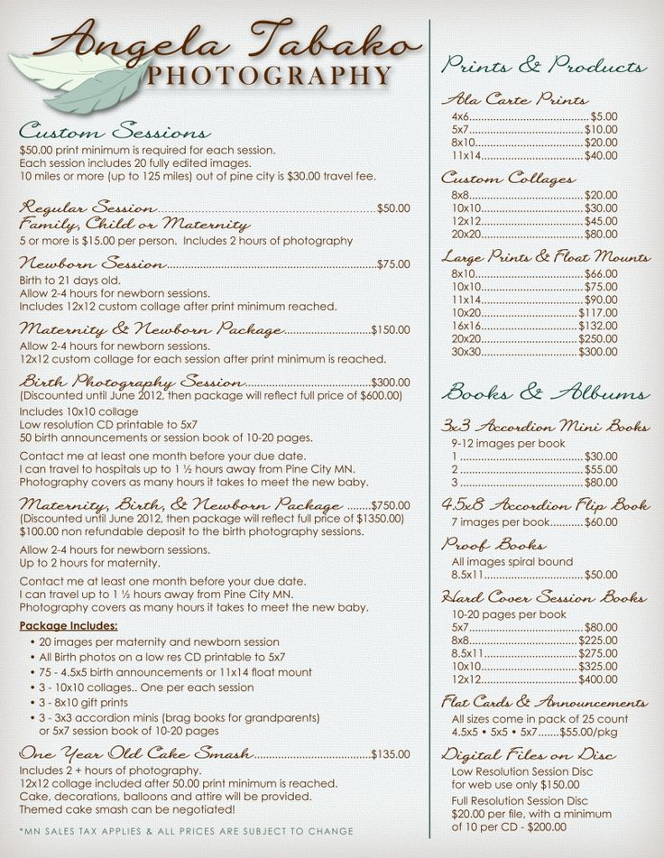 Photo package pricing sheet example...nice layout and fonts
