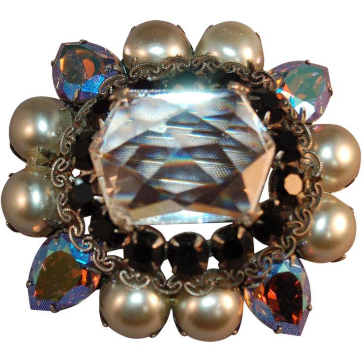 Massive Signed Schreiner New York Vintage Brooch w/Enormous Crystal &amp…