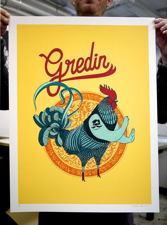 Affiche sérigraphie Coq Gredin 7 couleurs fait-main à Montréal édition limitée