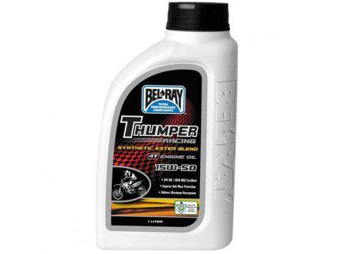 Bel-Ray Thumper Racing Mieszanka syntetyczna (półsyntetyk) Ester 4T to olej silnikowy łączący w sobie najwyższej jakości estry syntetyczne i mineralne oleje bazowe. Zaprojektowany z myślą o silnikach czterosuwowych jednocylindrowych oraz silników wyścigowych wielozaworowych.