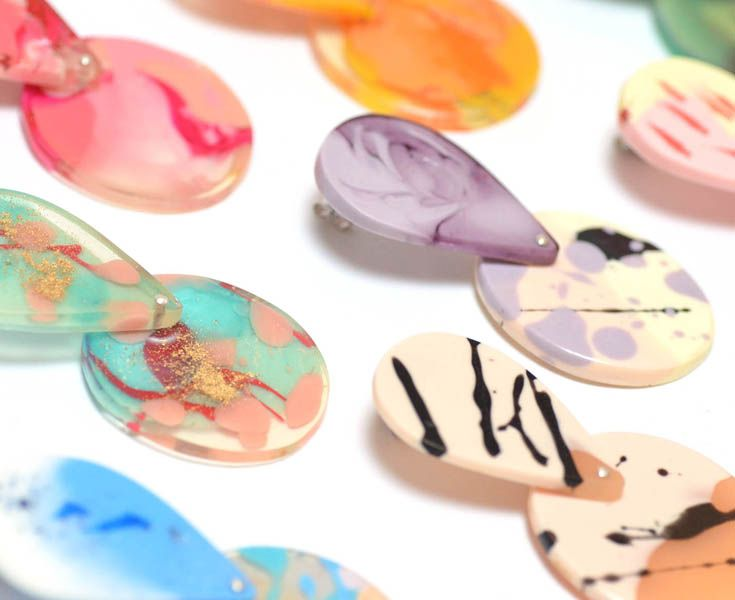 FLOCK CURIOSITY ASSEMBLY are design duo Stacey Rutigliano and Sarah Byrne. Their handmade one of kind resin jewellery incorporates a variety of techniques and materials, with a particular emphasis into exploring unconventional colour combinations in the form of playful and edgy statement designs. www.flockcuriosityassembly.com