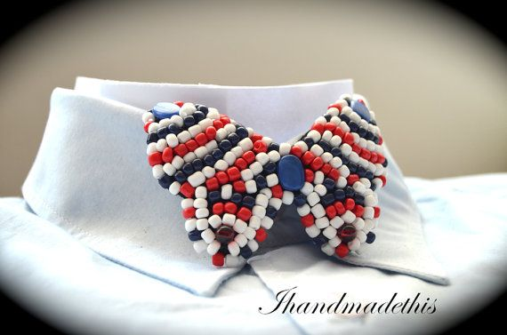 Navy beaded bow tie beads embroidery brooch by Ihandmadethis
