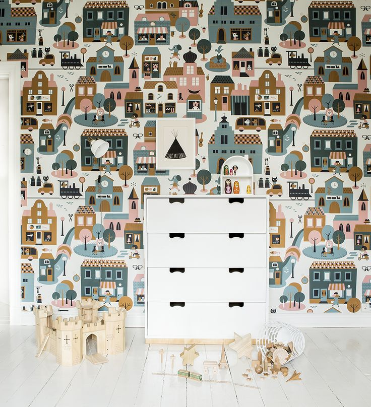 Town – Blue from the wallpaper collection Fabel designed by Ingela P Arrhenius for Photowall.