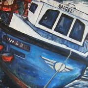 Blue Boat at Fenit, Oil on Canvas, 90 x 90cm, new work from Mayo/Carlow artist Maeve O'Reilly now on New Irish Art