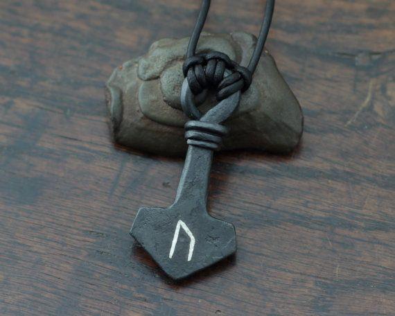 Uruz Rune inlaid Thor's Hammer inlaid with fine silver by Taitaya