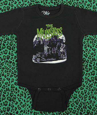 BABY GROW MEET THE MUNSTERS BLACK ONESIE B-MOVIE HORROR MONSTER VAMPIRE GOTH