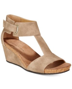 Adrienne Vittadini Trellis Ankle-Strap Wedge Sandals - Tan/Beige 6.5M