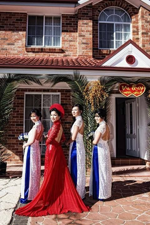 This is THE ONE! red open back ao dai with train.