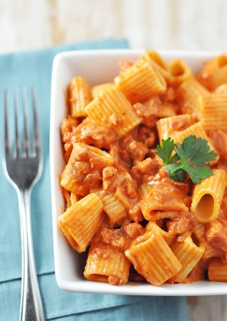 Portuguese sausage (chorizo) and rigatoni: I made this last night and it was really yummy! A nice twist on the usual spaghetti. I mixed dried parsley in with it before serving.