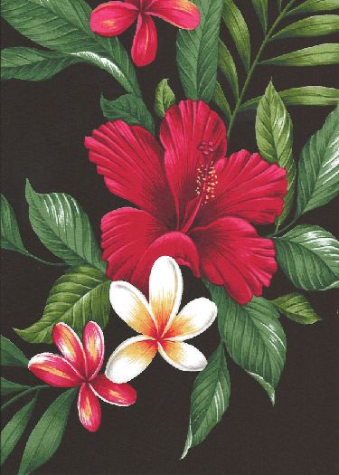 10'U hene Hibiscus plumeria, fern and palm fronds on cotton apparel fabric