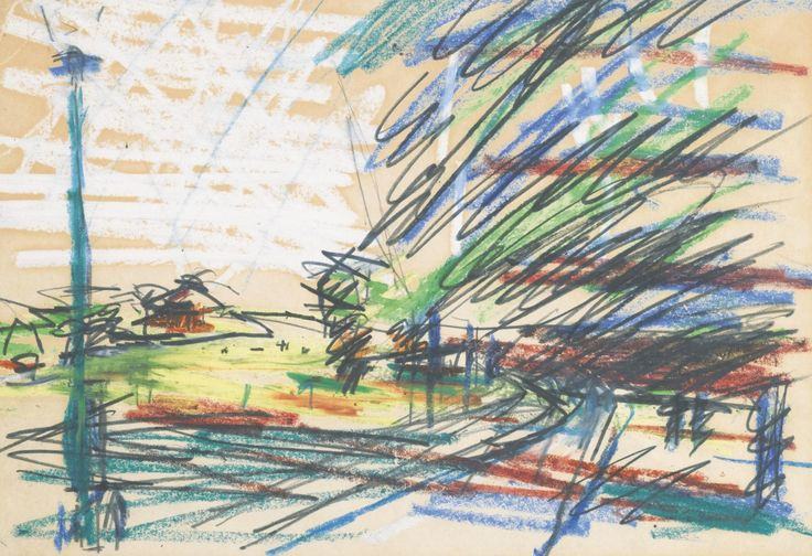 Frank Auerbach (British, b. 1931), Urban landscape. Pencil and pastel, 23 x 30.5 cm.