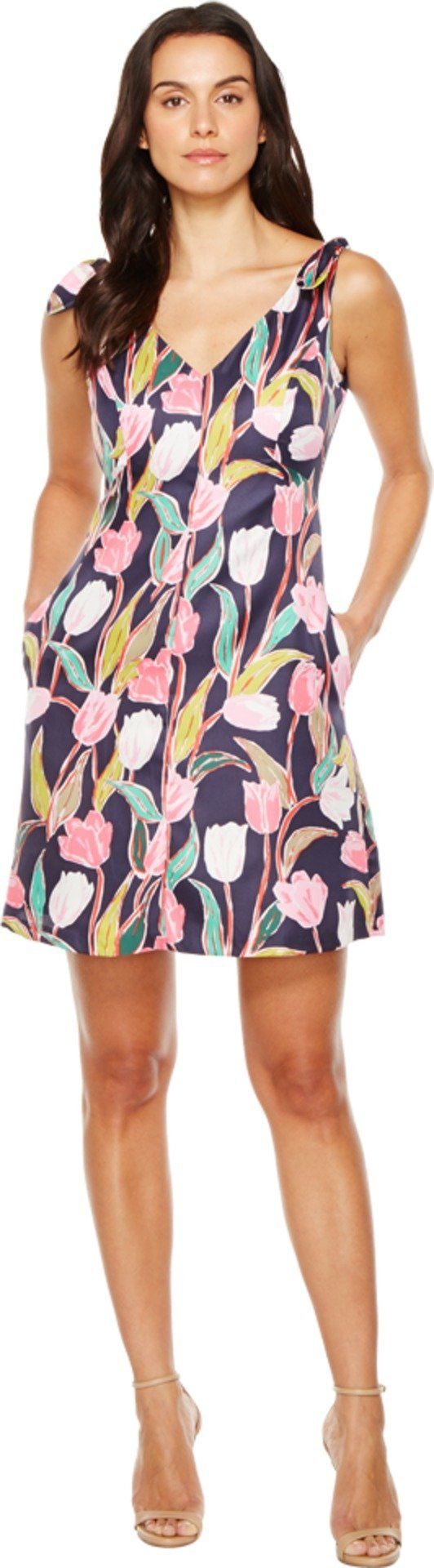 Donna Morgan Women's Tulip Print Dress, Marine Navy Multi, 4