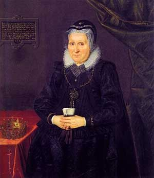 Frederik 2. giftede sig i 1572  med sin 15-årige kusine Sophie Amalie af Braunschweig-Lüneburg. Trods en aldersforskel på 23 år, blev Frederik 2.s ægteskab tilsyneladende meget lykkeligt. Dronning Sophie · Maleri af Jacob van Doordt · Frederiksborgmuseet