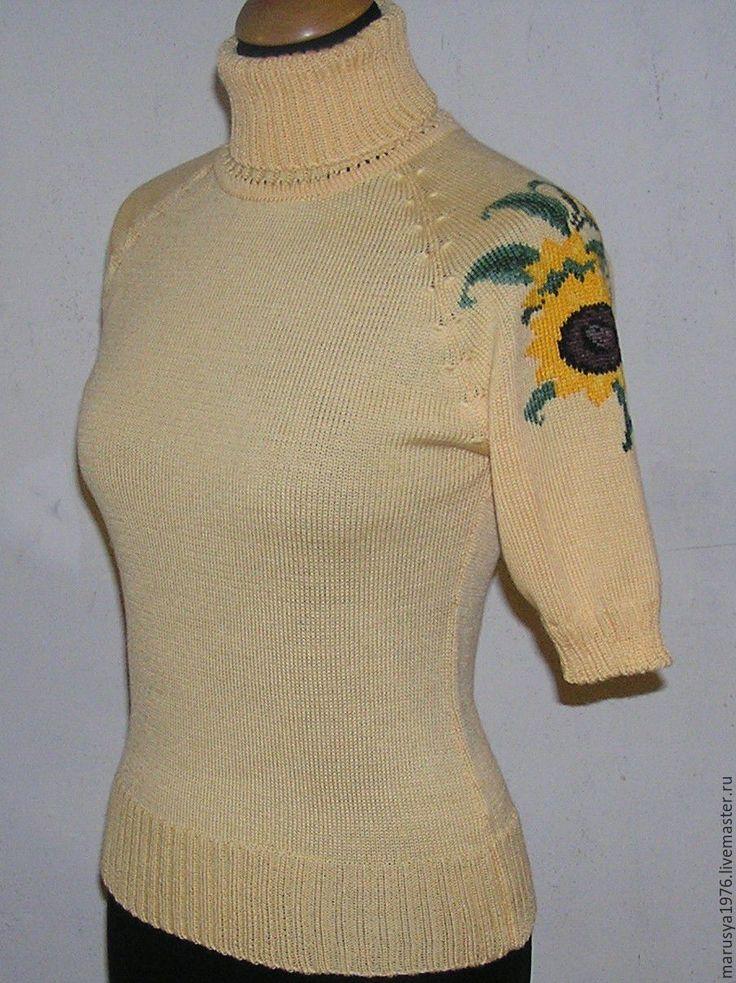 Купить Водолазка с вышивкой. Подсолнухи - рисунок, водолазка, вышивка, женская одежда, Машинное вязание