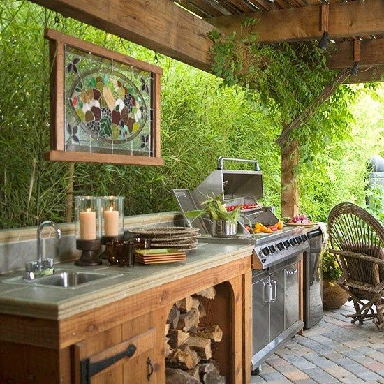 Love The Idea Of Hanging A Stained Glass Window In My Outdoor Room. Also  Love The Idea Of The Grill And Outside Food Prep.