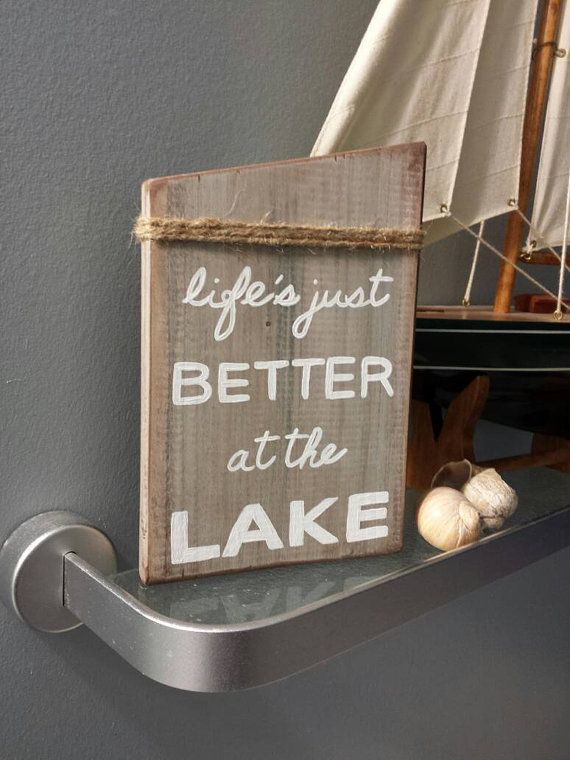 Rustic Lake House Wall Art. Cottage-Chic Lake by OaknAcornDesigns