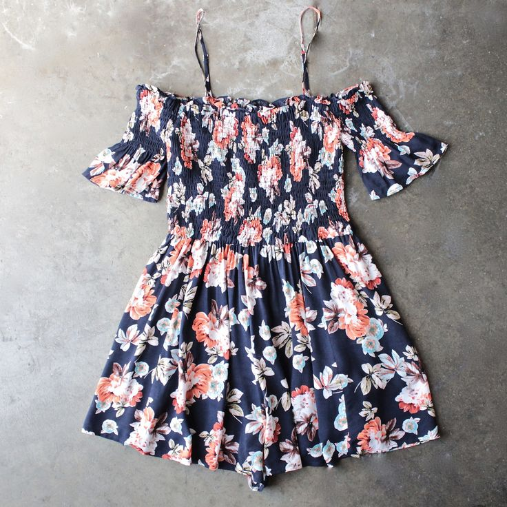 smocked cold shoulder romper in navy floral print
