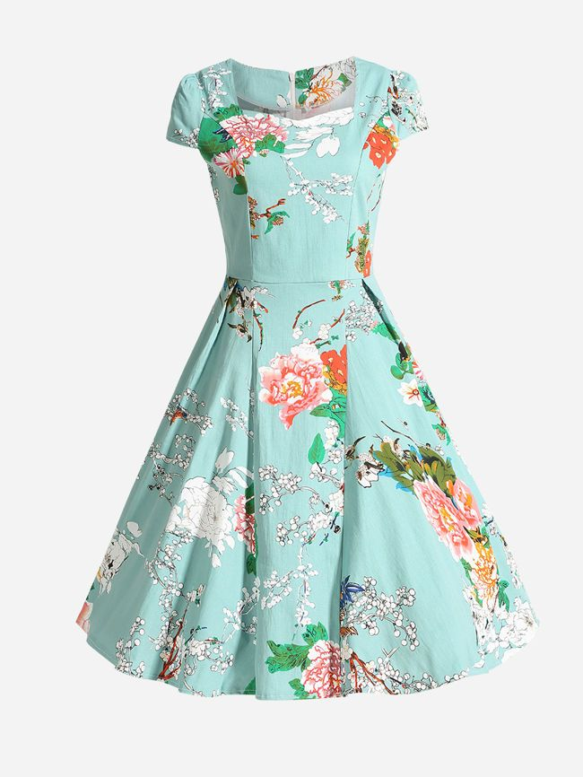 Sweet Heart Dacron Floral Printed Skater Dress