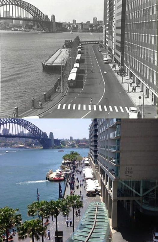 East Circular Quay viewed from the Cahill Expressway in 1970 and 2015. [1970 - City of Sydney Archives >2015 - Phil Harvey. By Phil Harvey]