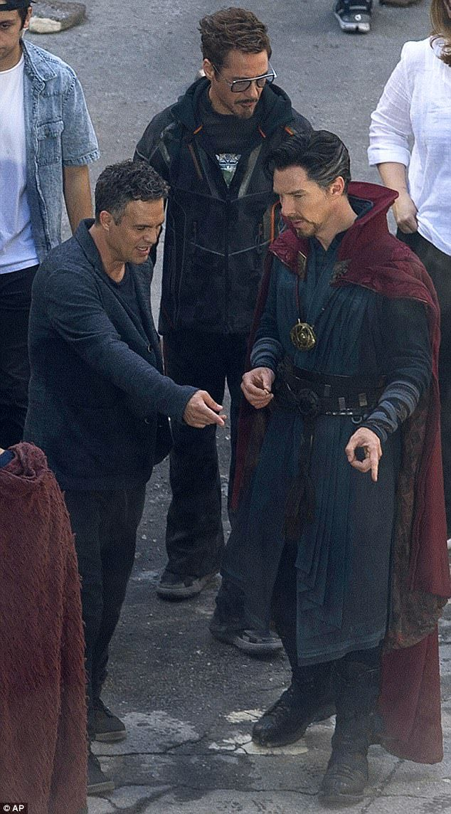 It's pandemonium! Explosive pictures show Benedict Cumberbatch, Mark Ruffalo and Robert Downey Jr. film new exciting Avengers scenes in Atlanta on Monday