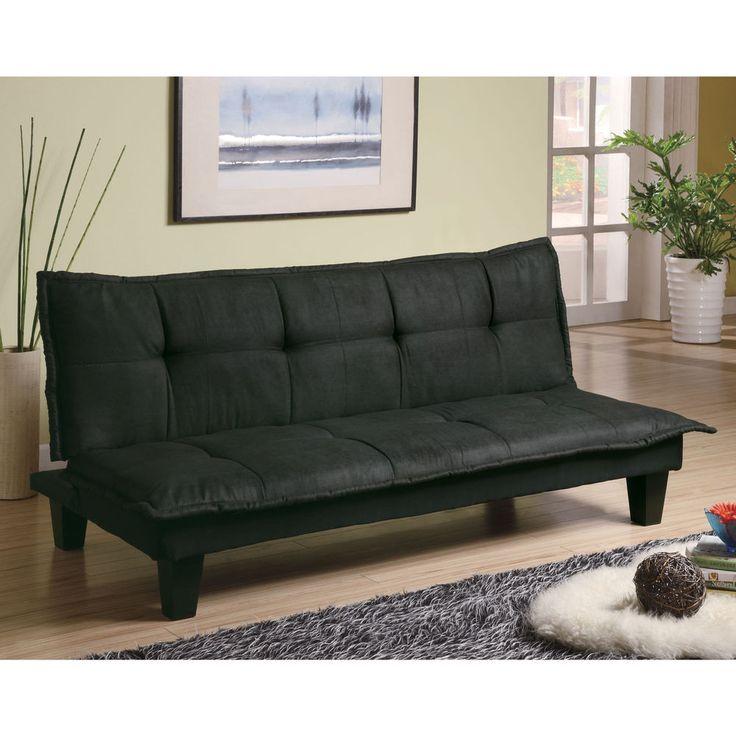 Transitional Sleeper Sofa Comfortable Dark Grey / Black Fabric Sofa Bed Futon #ComfySofasforYourHomeandOffice #Transitional