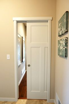 Pocket Door | white molded craftsman style interior pocket door; perfect for areas with minimal space | Bayer Built Woodworks