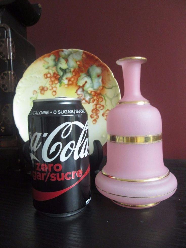 "Antique FRENCH OPALINE Satin GLASS Bottle VASE VICTORIAN Pink w Gold Bands 6.75"" #Victorian #Unknown"