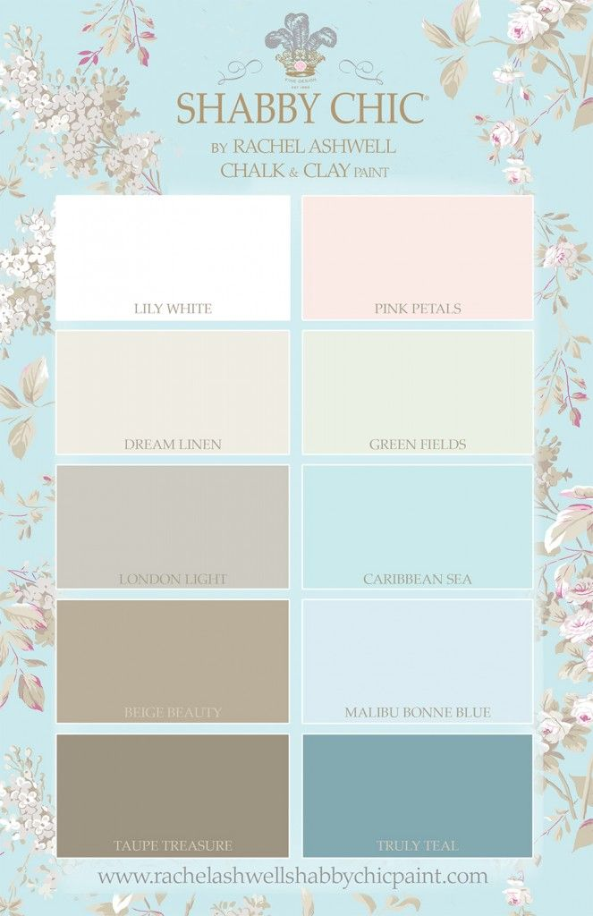 Shabby Chic by Rachel Ashwell Chalk & Clay Paint Palette, rally like Truly Teal, Lily White, Green Fields, London Light, Caribbean Sea. http://fancytemplestore.com
