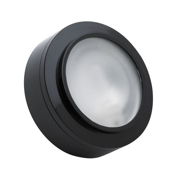 Alico Zeepuk 1 Lamp Xenon Puk Light In Black With Frosted Glass
