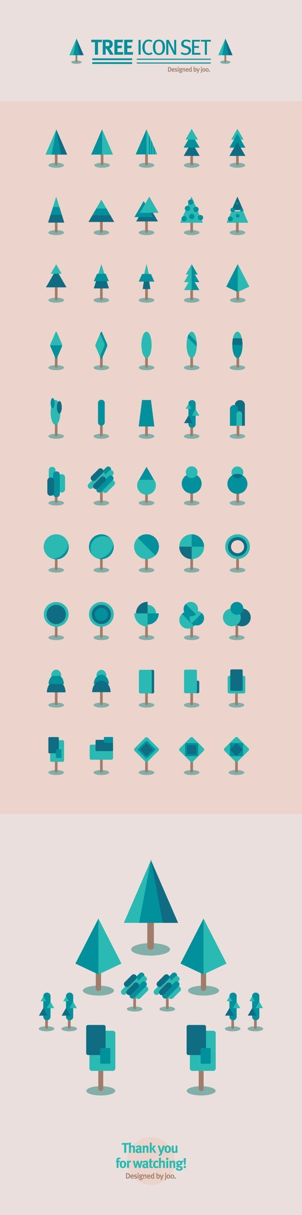 50 tree icon set by joo eunjeong, via Behance