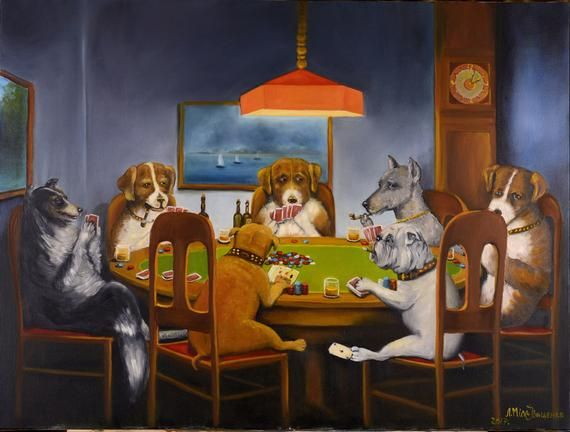 Dogs Playing Poker Oil Paints On Canvas 24x32 Oil Painting