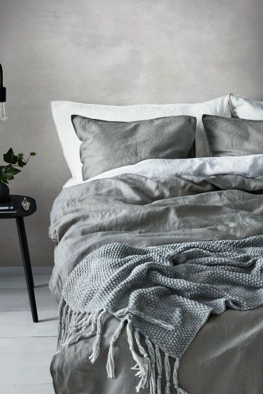 Dekbedset van gewassen linnen - Grijs - HOME | H&M NL 1