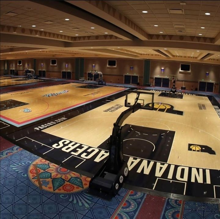 A Sneak Peek Of The Courts In Orlando Ac3 In 2020 Nba News Basketball Orlando