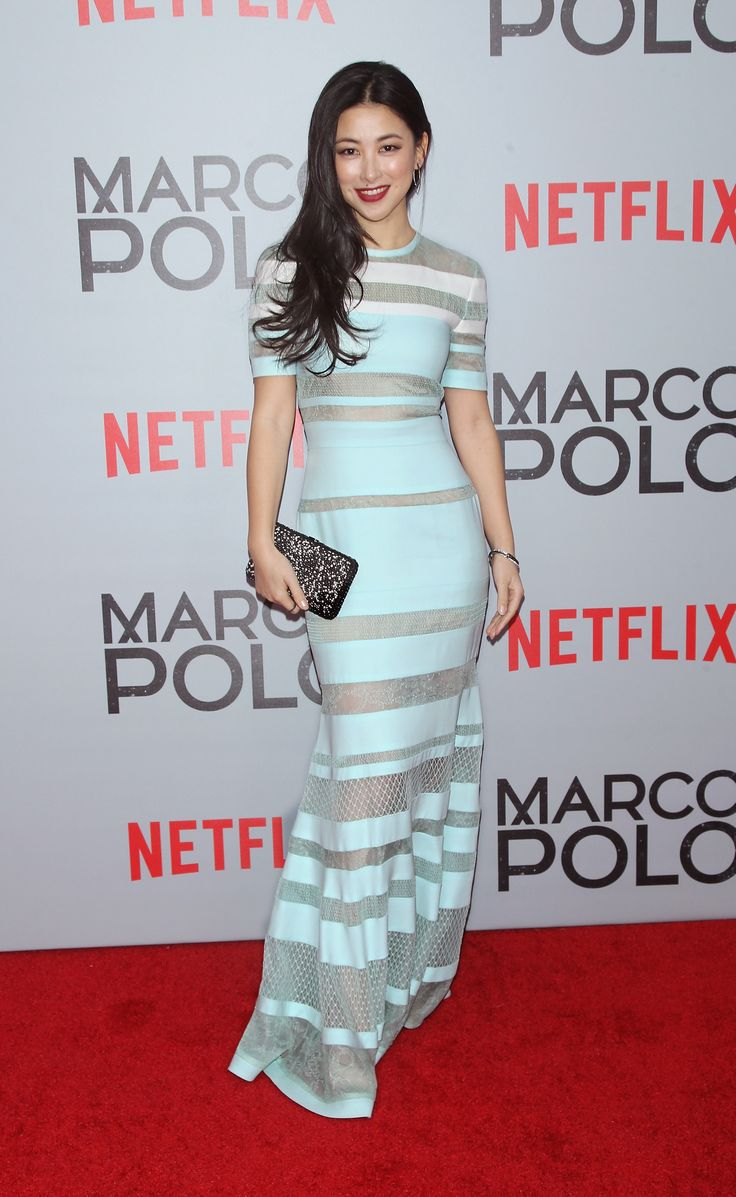 """Actress Zhu Zhu wears J. Mendel Resort 2015 Collection while attending the """"Marco Polo"""" premiere held at AMC Loews Lincoln Square on Tuesday, December 2nd, 2014 in New York City. www.jmendel.com"""