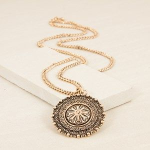 Eastern Disk Medallion Long Chain Necklace