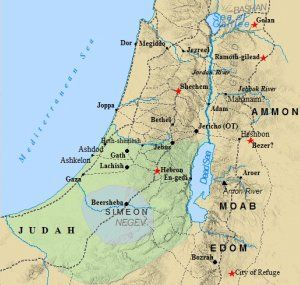 The tribe of Judah dominated the southern part of Israel, surrounding and eventually absorbing the much small tribe of Simeon. The tribe of Benjamin would join these two and constitute the Southern Kingdom of Judah, founded by David.