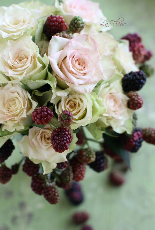 Not in the bridal bouquet but we spoke about maybe incorporating blackberries in the other floral arrangements