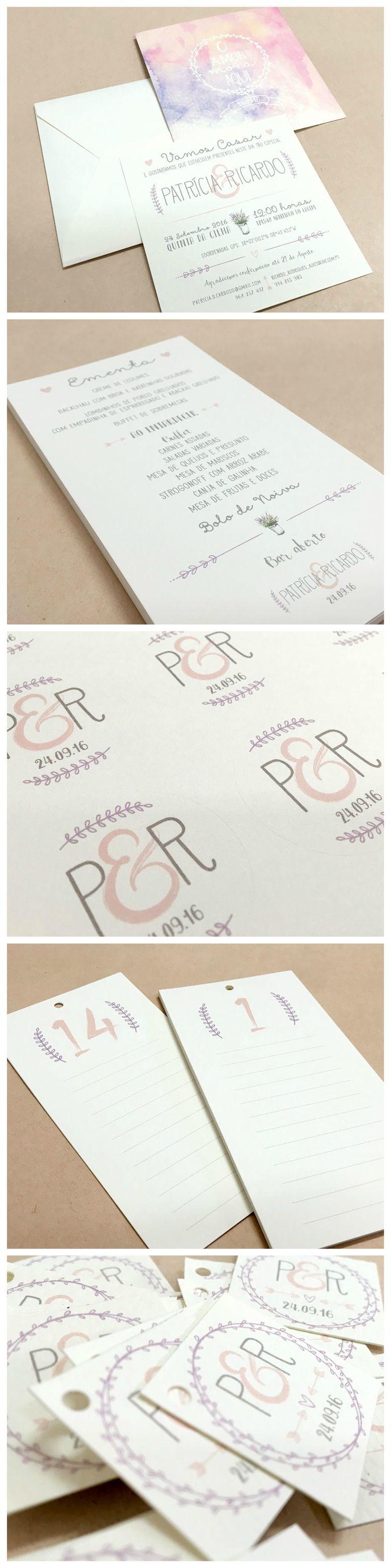 Estacionário personalizado para casamento da Patrícia e Ricardo: convites, ementas, stickers, etiquetas e listas de mesas.  #beapaper #estacionáriocasamento #designgráfico #weddingstationary #lettringinvitation #romanticwedding #watercolour #menus