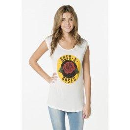 Ivory Guns N Roses open back t-shirt