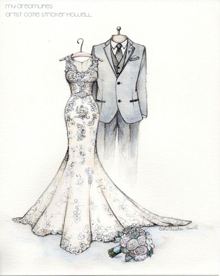 Wedding Dress Sketch From The Groom To The Bride Catiethesketchlady Dress Illustration
